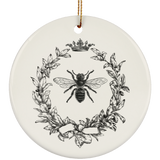 Vintage Olive Wreath And Queen Bee Ceramic Ornament inspired by the French Empire's Napoleonic royal bee designs. It has a slight touch of the shabby chic nostalgia. It looks like something you may have found at one of the brocante stores in Paris. Perfect gift for art historians, honey lovers, beekeepers, entomologists, and everybody who cares about bees. Great hostess gift, tree ornament, gift tag, or table decoration.