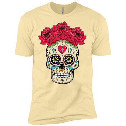 Sugar Skull With Roses Men's Premium T-Shirt