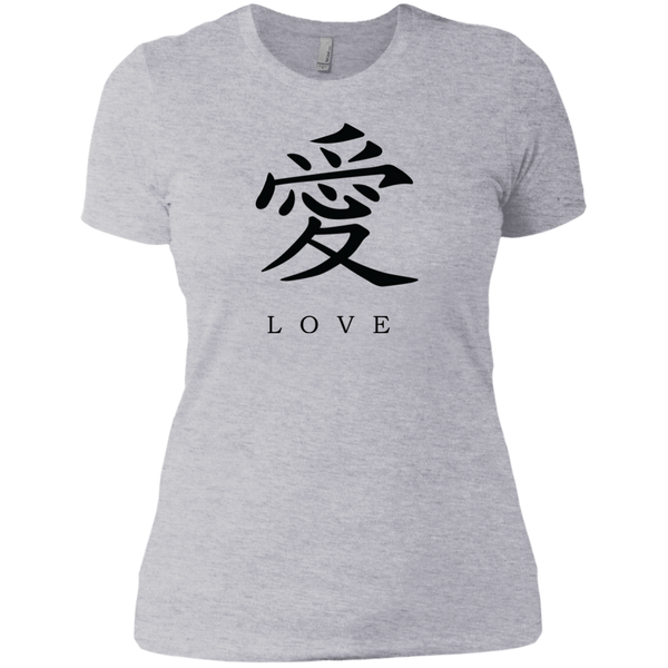Kanji Love Black Brush Strokes Women's Short Sleeve T-Shirt