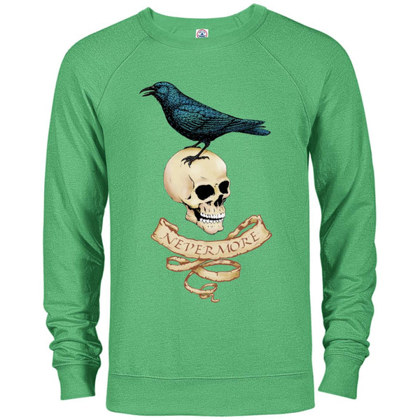 Nevermore - Raven and Skull Long Sweatshirt (Unisex)