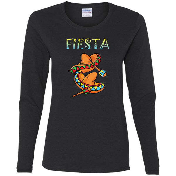 Sombreros And Maracas Ladies' Long Sleeve Fiesta T-Shirt