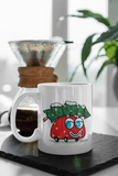 Jimmo Designs original Happy Red Car And The Christmas Tree Mug for the Holiday Season. Great gift for the young at heart, kids and everybody who loves Christmas.