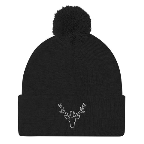 White Stag Embrodered Pom Pom Knit Cap (Unisex)
