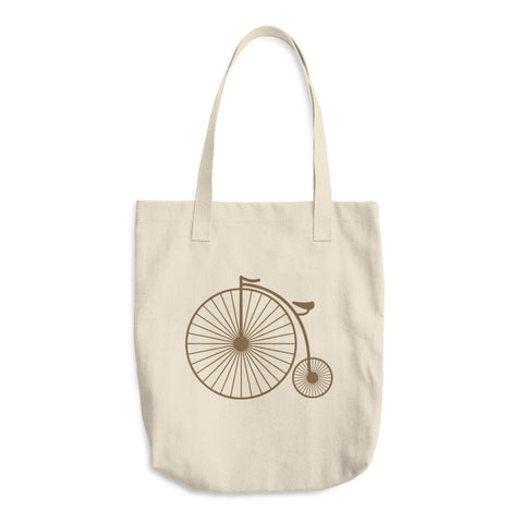 Vintage Brown Penny Farthing Reusable Cotton Shopping Tote Bag