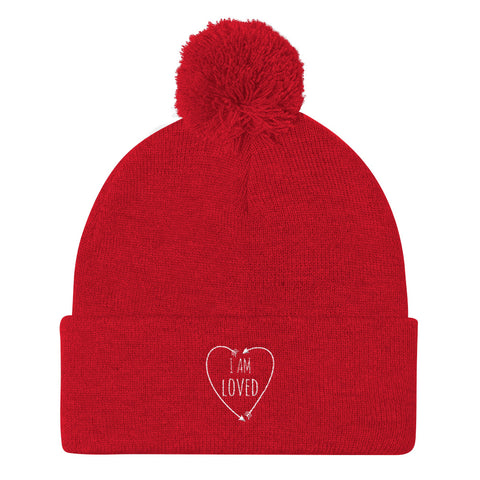 I Am Loved Embroidered Pom Pom Knit Cap