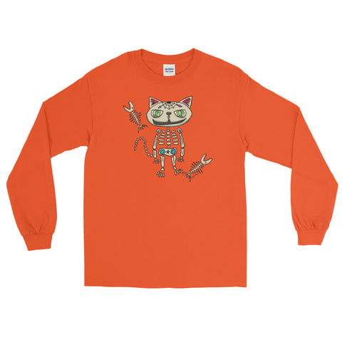 Sugar Skull Cat Long Sleeve T-Shirt For Cat Lovers (Unisex)