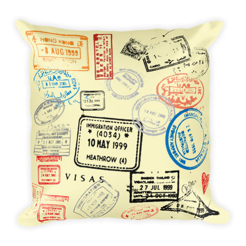 Travel Passport Stamps Throw Pillow