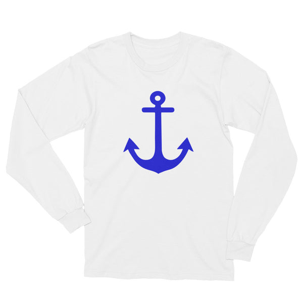 Navy Blue Anchor - Nautical Long Sleeve Unisex T-Shirt