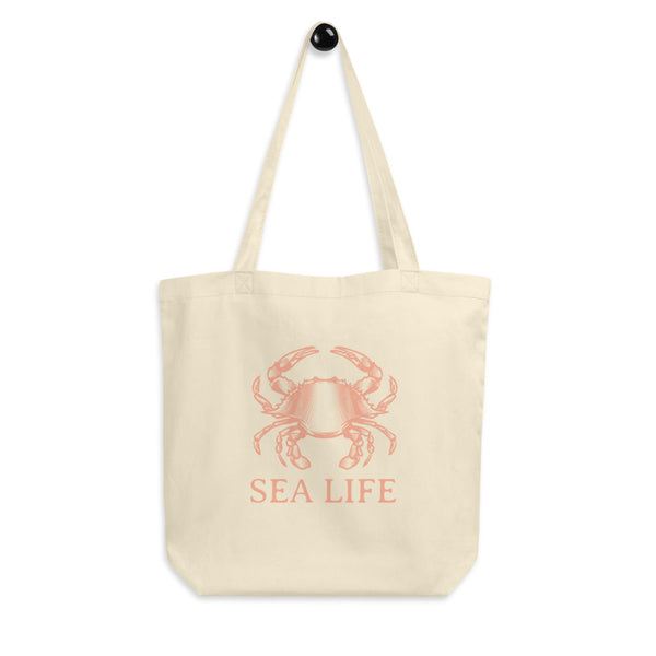 Crab Sea Life Reusable Eco Tote Bag. Ditch the plastic! Vintage style nautical artwork adorns this reusable, earth friendly tote bag. Great for ecology conscious people born under the sign of Cancer, beach bunnies, sailors, and seafood lovers.
