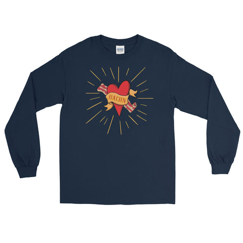 Bacon Heart In Holy Fire Long Sleeve T-Shirt (Unisex)