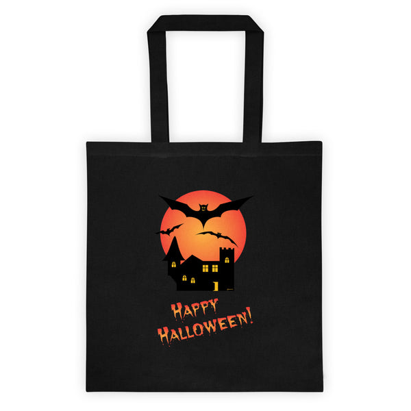 Happy Halloween Spooky Reusable Trick Or Treat Black Tote Bag
