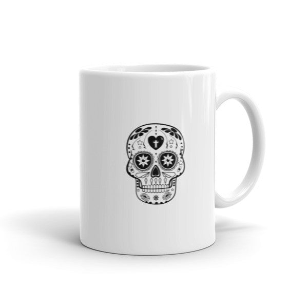 Sugar Skull Graphic Black And White Mexican Folk Art Mug
