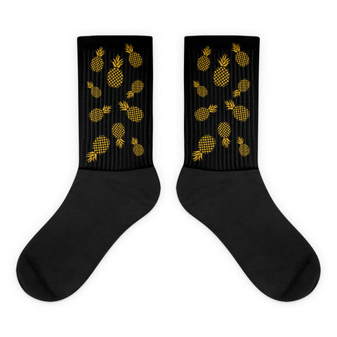 Golden Pineapple Unisex Black Foot Socks. Beautifully designed golden pineapple black foot socks for pineapple lovers. When life throws you lemons, sell them and buy a pineapple or at least a pair of these super cool golden pineapple socks!