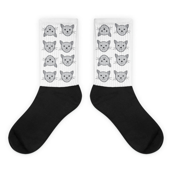 Fun Kitty Cats - Black Foot Socks For Cat Lovers (Unisex)