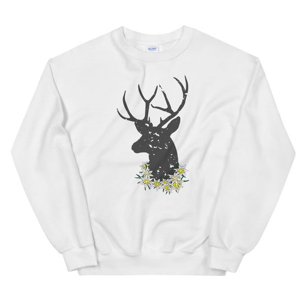 Get ready for the October Fest! Jimmo Designs original Stag And Edelweiss Flowers Unisex Oktoberfest Sweatshirt with Alpine edelweiss flowers and a head of a stag. Oh, my deer! If you love nature, wilderness, hunting, German culture, beer, bachelor parties, and folk fests, this attractive shirt is for you! Great for a trip to Bavaria, hiking trip or a lively evening in a beer garden.