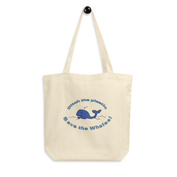 Jimmo Designs original Ditch The Plastic Save The Whales Reusable Eco Tote Bag for the eco conscious shopper.