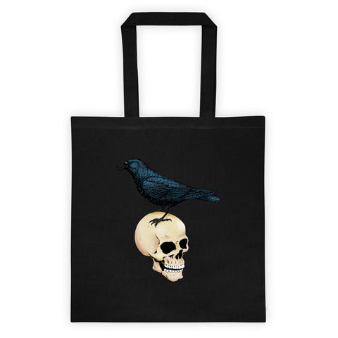 Raven And Skull Reusable Goth Shopping Tote Bag