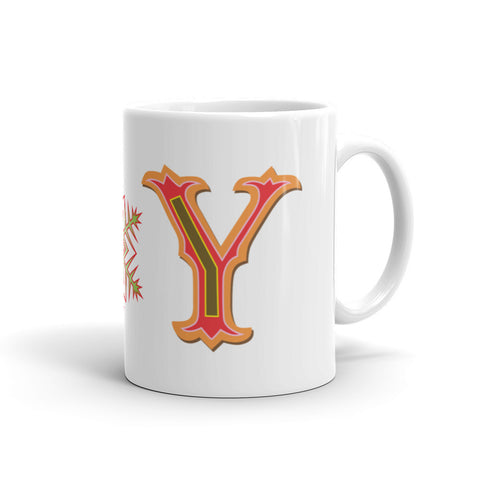 Jimmo Designs original JOY Inspirational Mug for the Holiday Season! Fill your mug with a hot, steaming coffee, hot chocolate or spiced chai, and enjoy the joys of the Season.