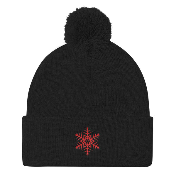 Red Snowflke Embroidered Pom Pom Knit Cap (Unisex)