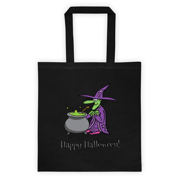 Trick or treat! Agatha And The Cauldron Reusable Trick Or Treat Black Tote Bag! Jimmo Designs original Agatha, the very kind witch and her Mystical Cauldron of Mysterious Mysteries are headed your way this Halloween. Keep an eye out for her. You never know what might happen if they are nearby.
