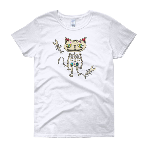 Sugar Skull Cat Ladies' Short Sleeve T-Shirt For Cat Lovers! Wickedly cute. Original artwork by Jimmo Designs! Mexican folk art for cat lovers. Great for Halloween, Dia de los Muertos, Cinco de Mayo, or anytime you feel you need to look different.