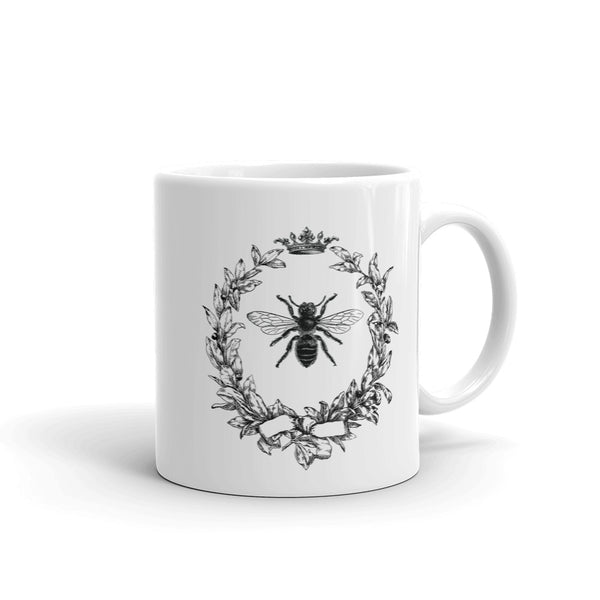 Vintage Olive Wreath And Queen Bee Mug inspired by the French Empire Napoleonic royal bee design. It has a slight touch of the shabby nostalgic chic. Perfect gift for historians, beekeepers, entomologists, and everybody who cares about bees.