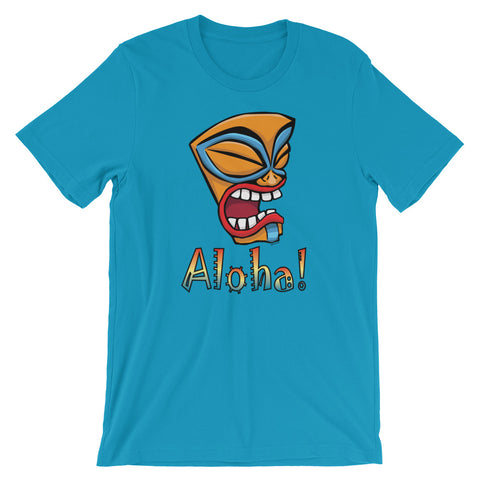 Aloha Hawaiian Tiki Warrior Mask Short Sleeve Unisex T-Shirt