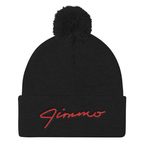 Jimmo Red Signature Embroidered Pom Pom Knit Cap (Unisex)