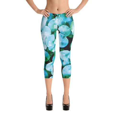 Aqua Colored Tropical Foliage - Capri Leggings