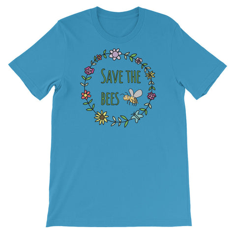 Save The Bees Flower Garland - Unisex Short Sleeve T-Shirt