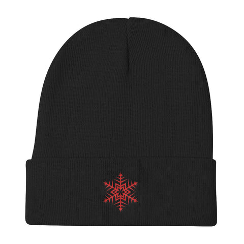 Red Snowflake Unisex Knit Beanie