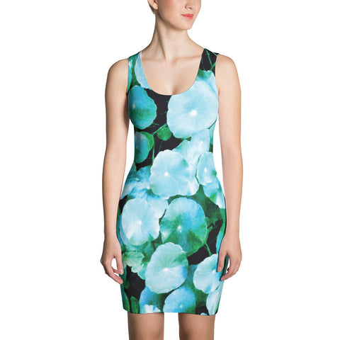 Aqua Colored Tropical Foliage Dress. Absolutely unique summer dress by Jimmo Designs featuring digitally remastered photograph of Centella asiatica plant, aka Gotu Kola or Asiatic Pennywort, taken is Fort Canning Hill Park, Singapore. Make a statement and look fabulous in this all-over printed, fitted dress.