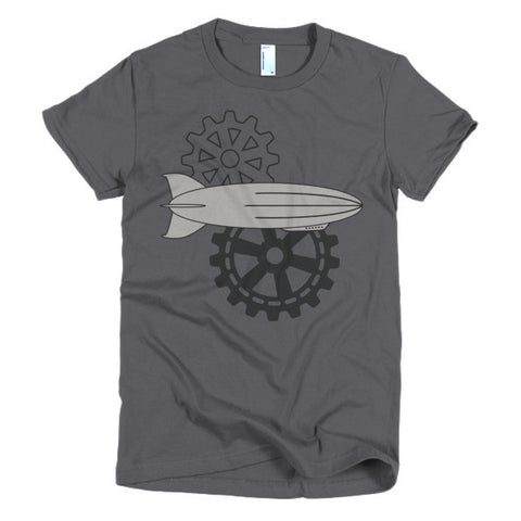 Cogs and Airships - Short Sleeve Women's Steampunk T-Shirt