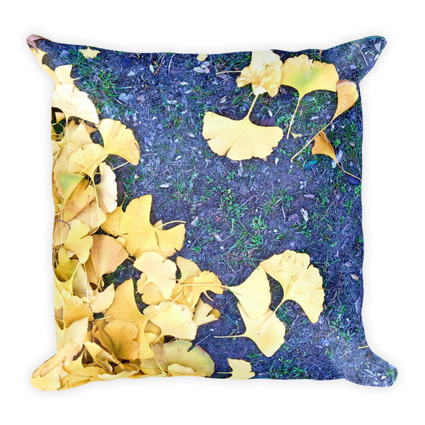 Golden Ginkgo Square Throw Pillow