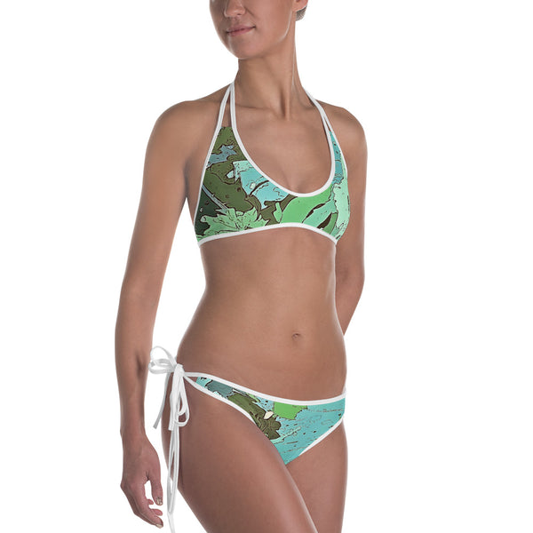 Tropical Dream Jungle Camouflage Bikini. For some of us the Summer is never over. Designed especially for the discerning lovers of wild adventures, exotic vacation and tropical plants, this over print bikini featuring colorful tropical Monstera foliage camouflage pattern will make you stand out in the crowd on any beach.