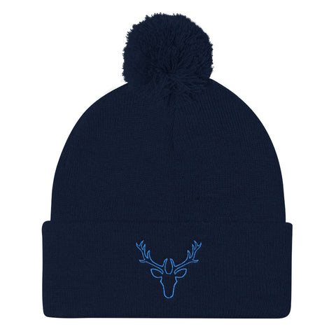 Blue Stag Embroidered Pom Pom Knit Cap (Unisex)