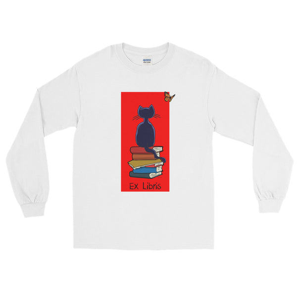 Cat And The Books Long Sleeve Unisex T-Shirt For Book Lovers