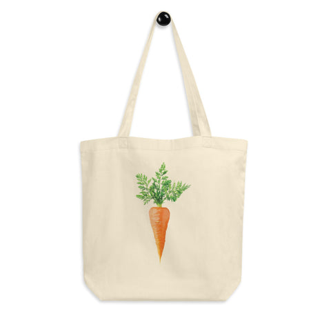 Carrot Veggie Lovers Eco Tote Bag. Ditch the plastic! Jimmo Designs beautiful reusable shopping tote made of organic cotton for the environment conscious veggie lovers, raw foodists, vegans, and gardeners.