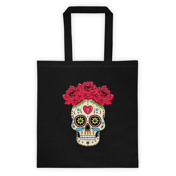 Sugar Skull With Roses Dia De Los Muertos Reusable Halloween Tote Bag. Jimmo Designs original calavera adorns this elegant reusable tote bag. If you like Mexican folk art, this stylish bag is yours!