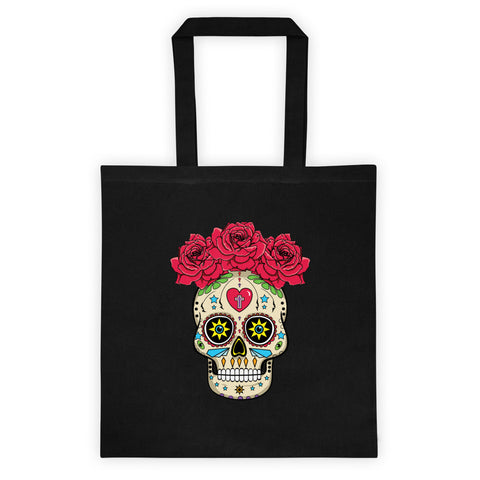 Sugar Skull With Roses Dia De Los Muertos Reusable Shopping Tote Bag