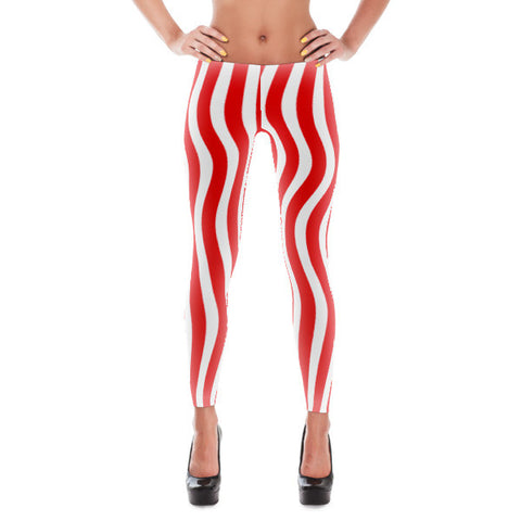 Wavy Patriotic Stripes Americana Leggings