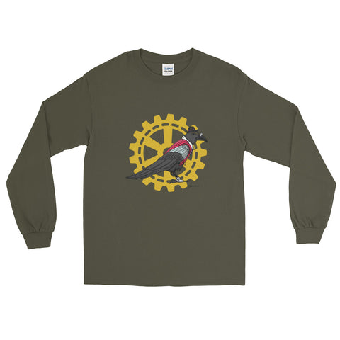 Steampunk Raven Guide And Cog  - Long Sleeve T-Shirt (Unisex)