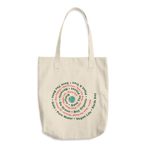 Earth Day Eco Awareness Reusable Cotton Tote Bag