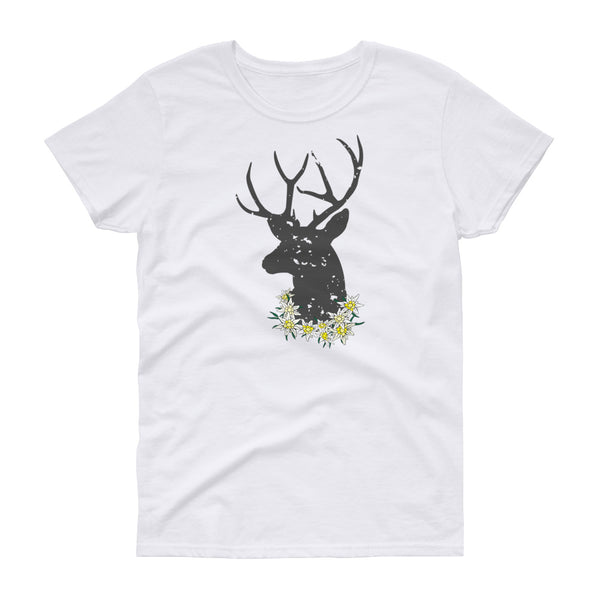 Get ready for the October Fest! Jimmo Designs original Edelweiss And Deer Oktoberfest T-Shirt with Alpine edelweiss flowers and a head of a stag. Oh, my deer! If you love nature, wilderness, hunting, German culture, beer, bachelor parties, and folk fests, this attractive shirt is for you! Great for a trip to Bavaria, hiking trip or a lively evening in a beer garden.