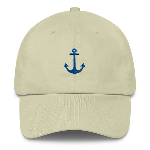 Navy Blue Anchor - Nautical Cotton Cap (Unisex)