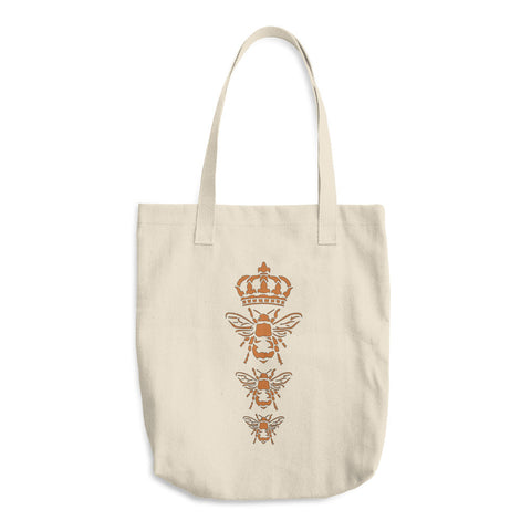 Three Royal Bees - Reusable Cotton Shopping Tote Bag