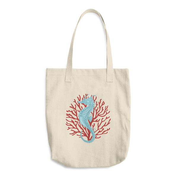 Seahorse And Red Coral Reusable Cotton Tote Bag