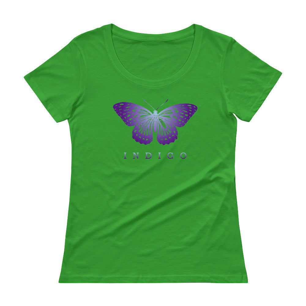 61f7095bd Earth Awareness Indigo Butterfly Ladies' Scoopneck T-Shirt – Jimmo Designs