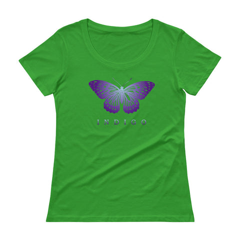 Earth Awareness Indigo Butterfly Ladies' Scoopneck T-Shirt