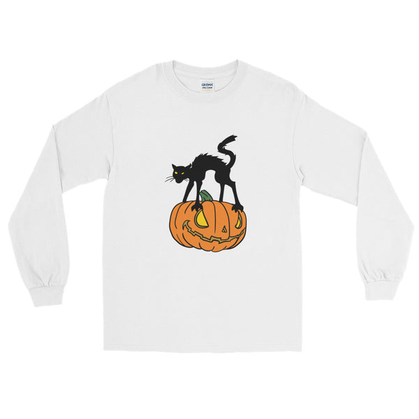 Jack And The Black Cat - Long Sleeve Halloween T-Shirt (Unisex)